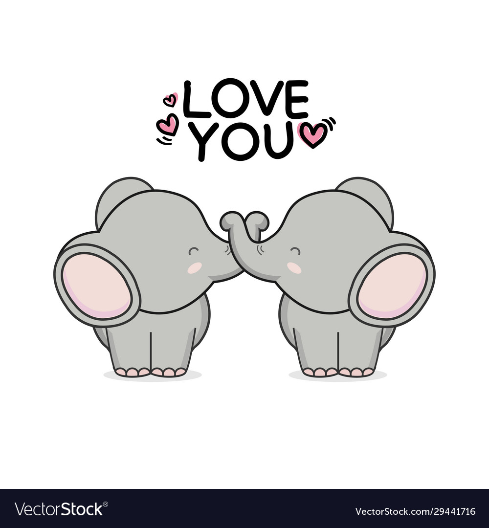 Cute Couple Elephant Hand Drawn Cartoon Animal Cha