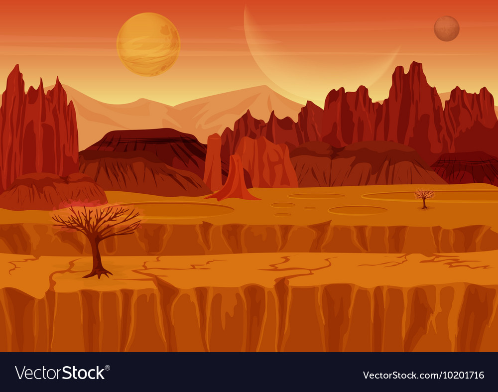 Fairy game sci-fi red mars alien landscape nature