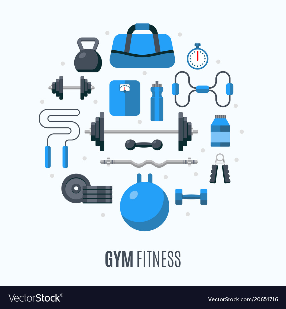 Flat design icons fitness gym exercise equipment