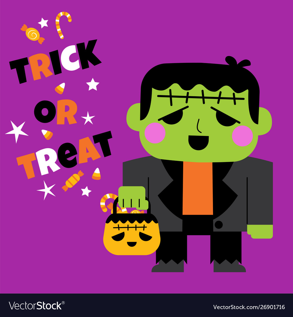 Happy halloween greeting card with cute character
