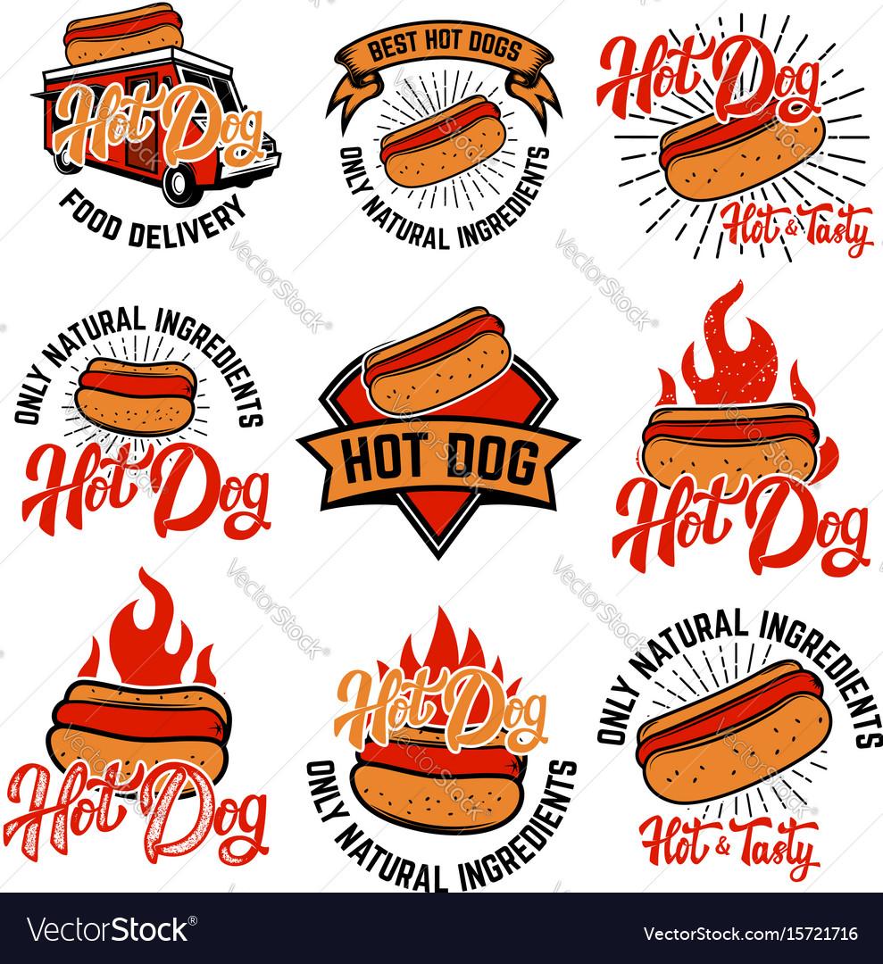 Hot dog labels handwritten lettering logo label