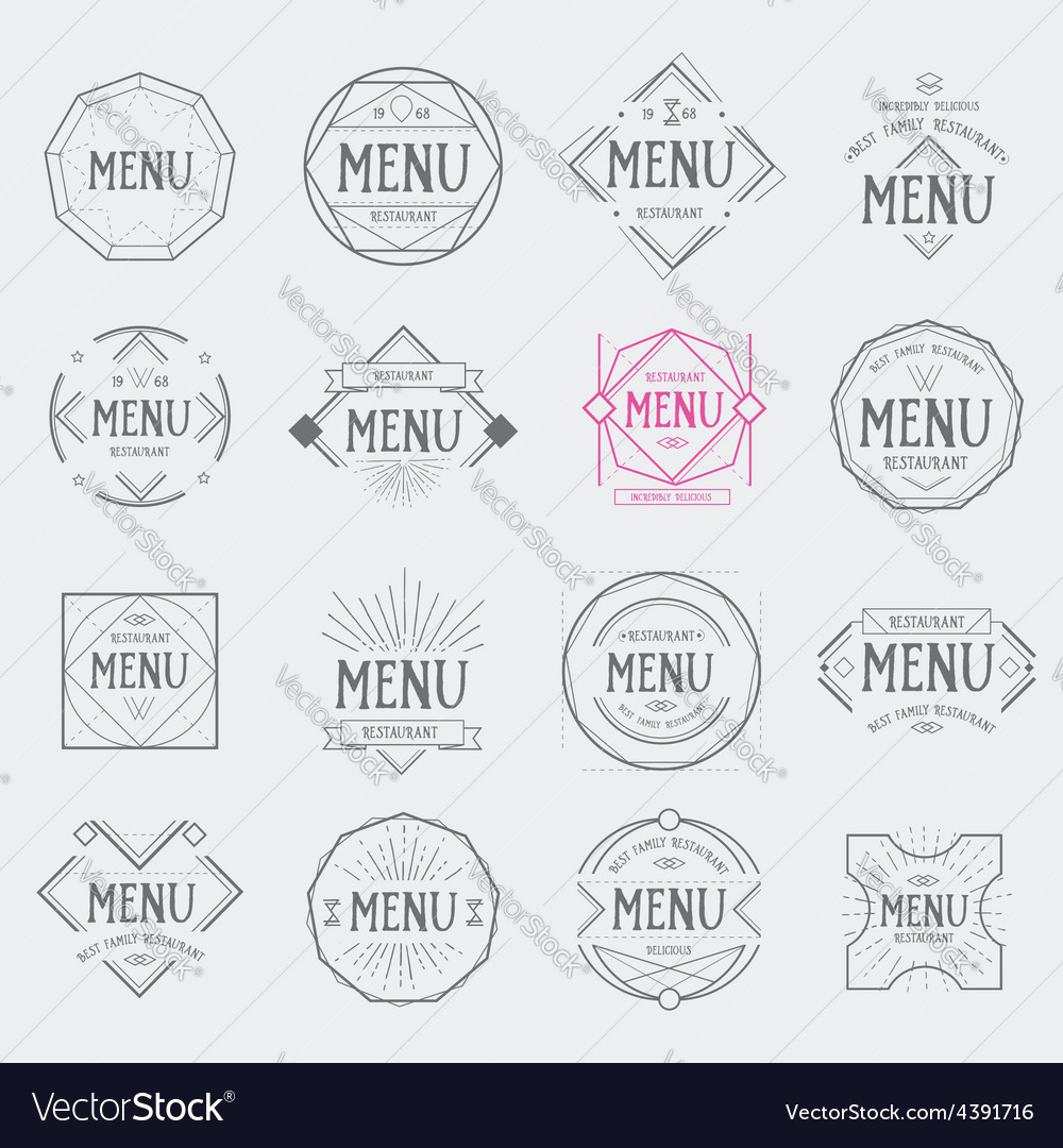 Restaurant menu logo vintage label retro design vector image