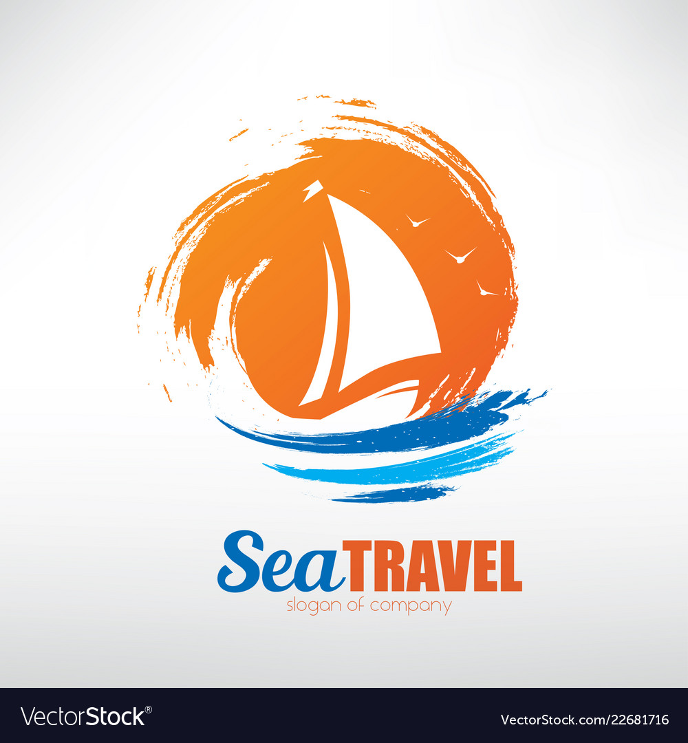 Sail boat on seascape background stylized symbol