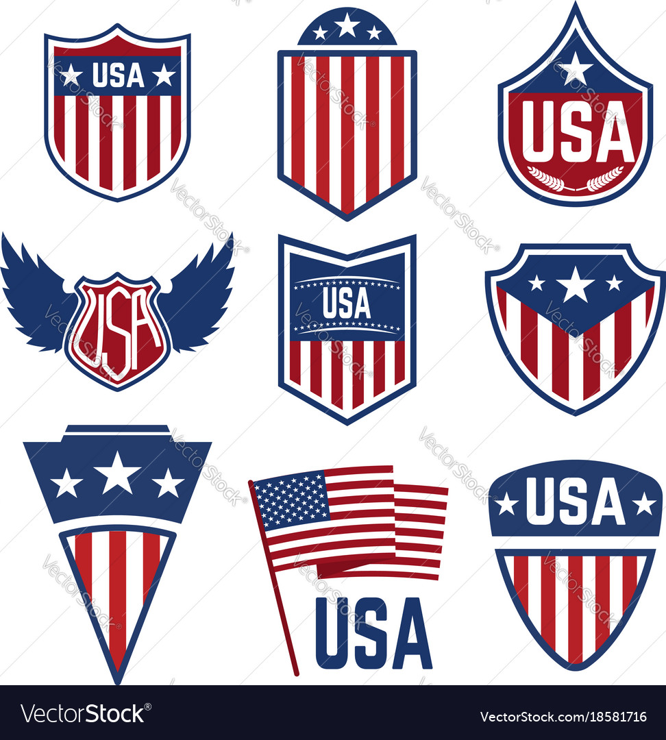 Set of emblems with american symbols usa flag