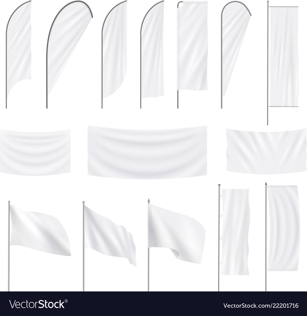 Set of realistic white advertising textile flags