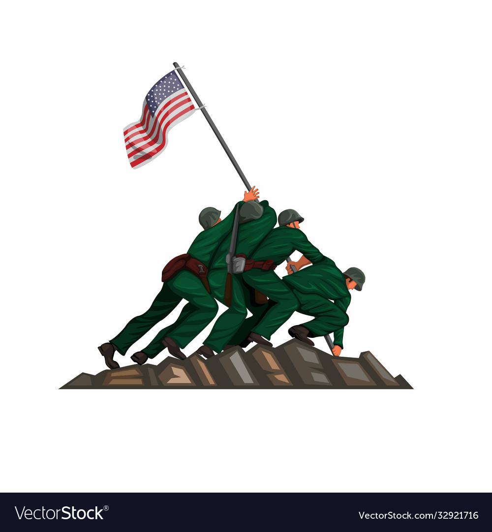 Soldier american flag raising in iwo jima battle