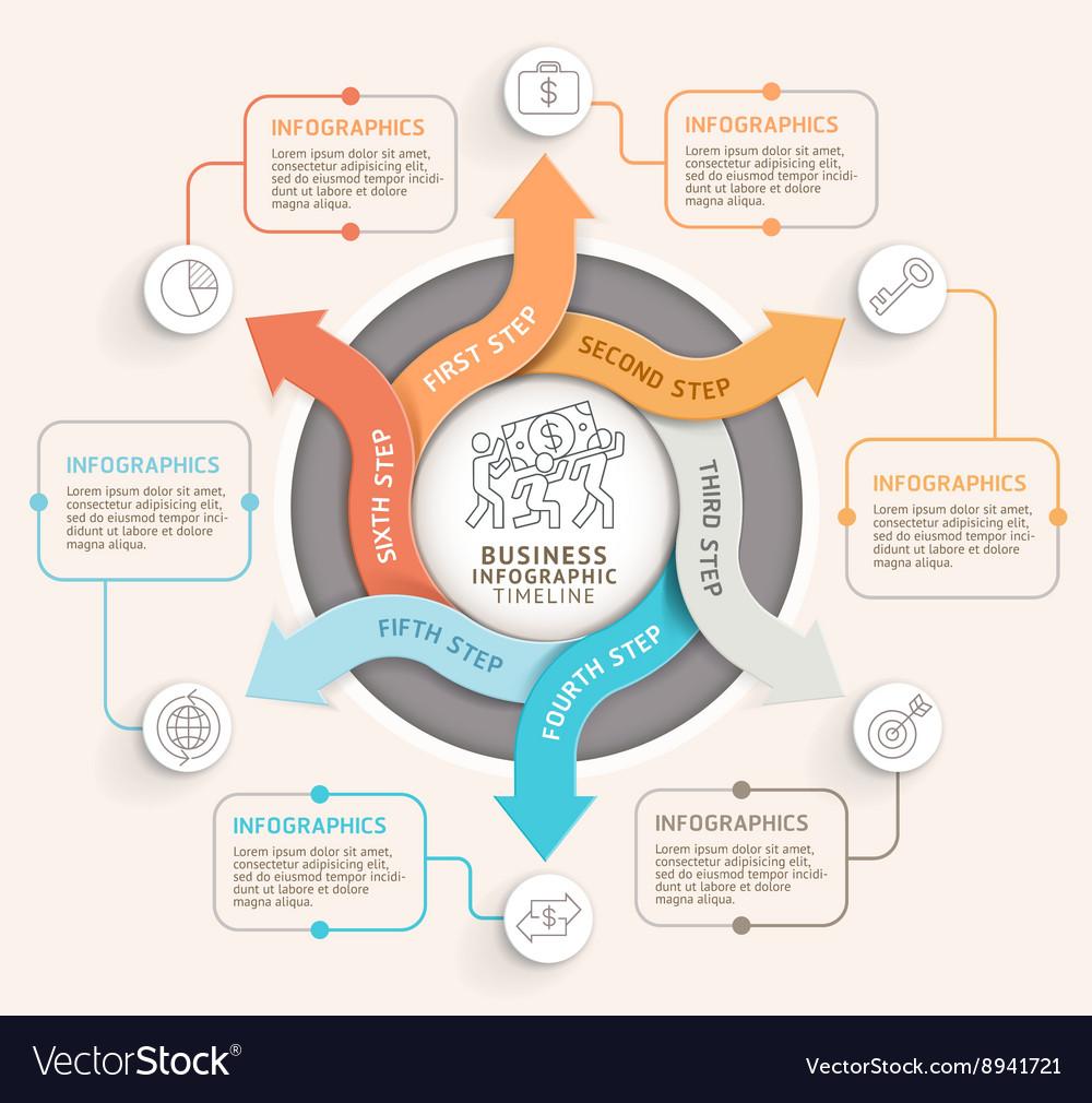 6 step arrow circle infographics template