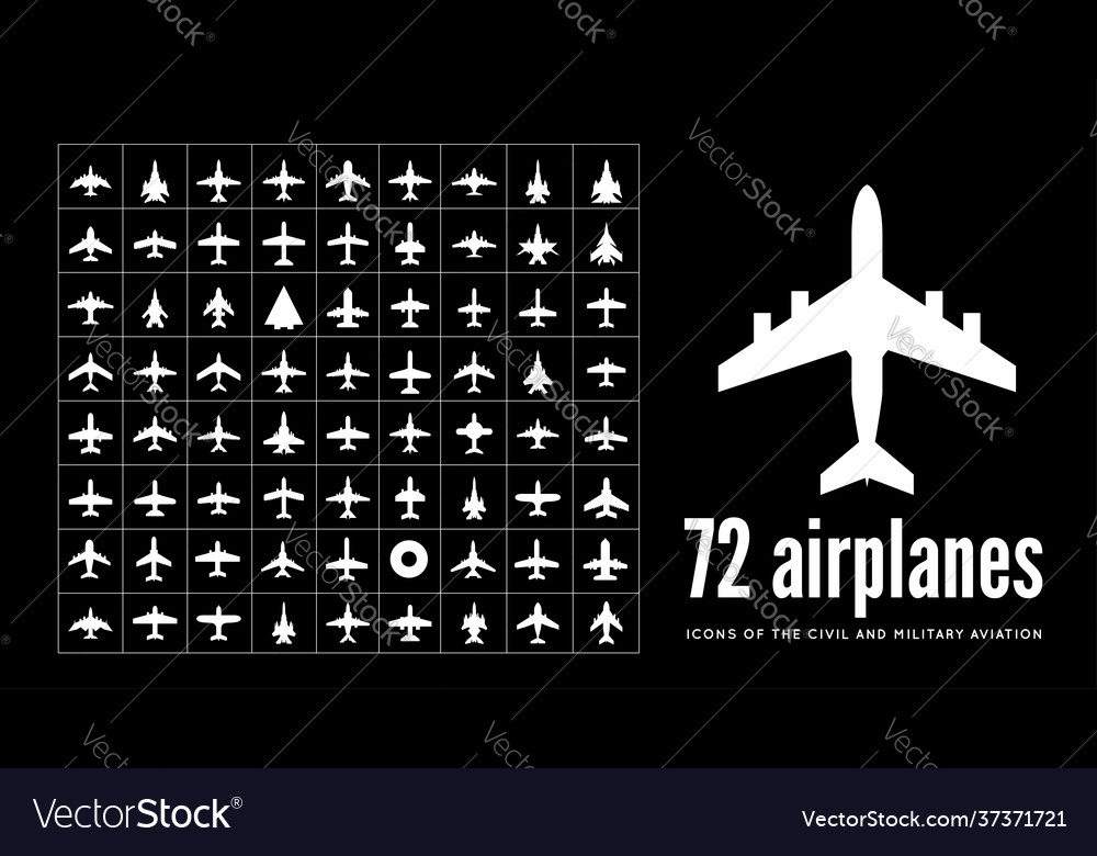 72 civil and military aircraft icons on black