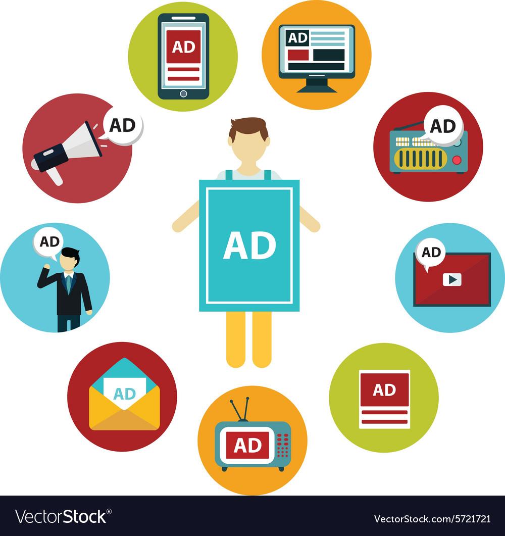 Advertising design concept set media and guerrilla