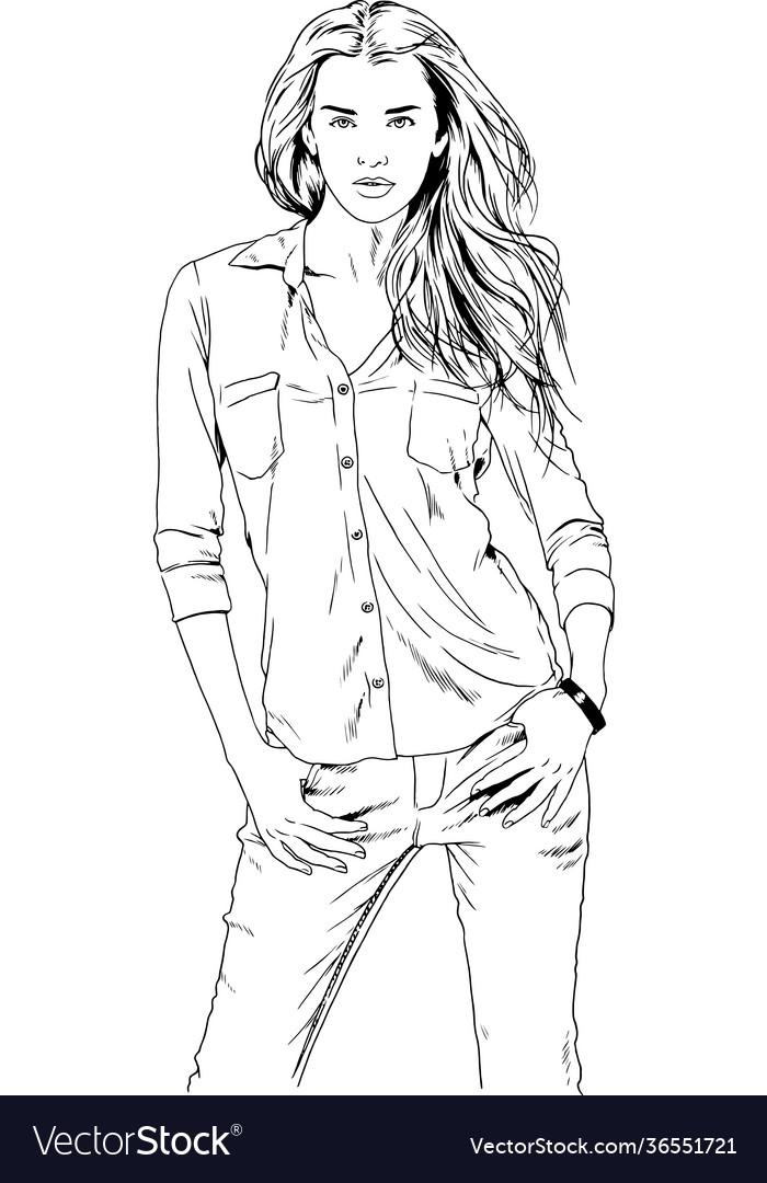 Beautiful slender girl drawn in ink hand