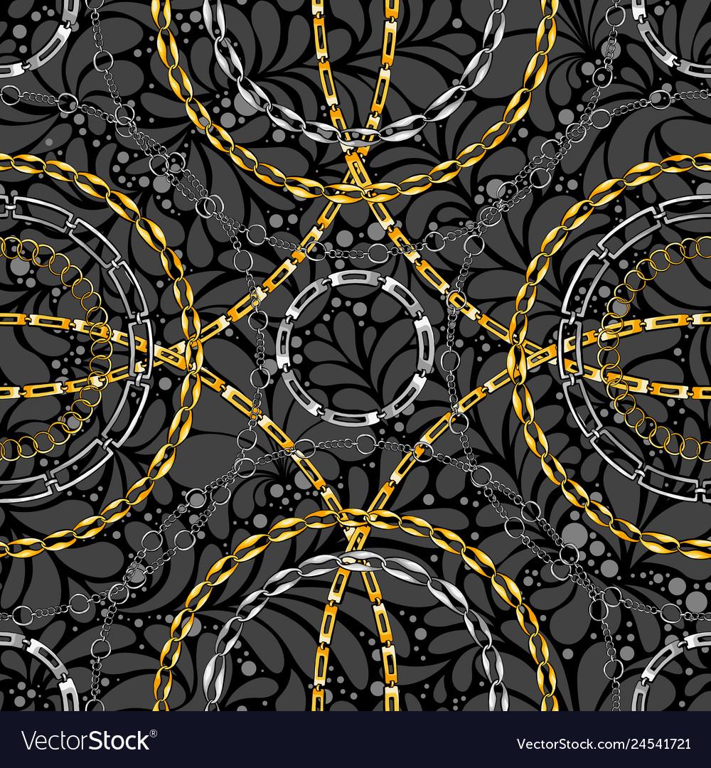 Chains on damask flat seamless pattern