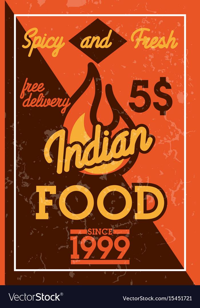 Color vintage indian food banner