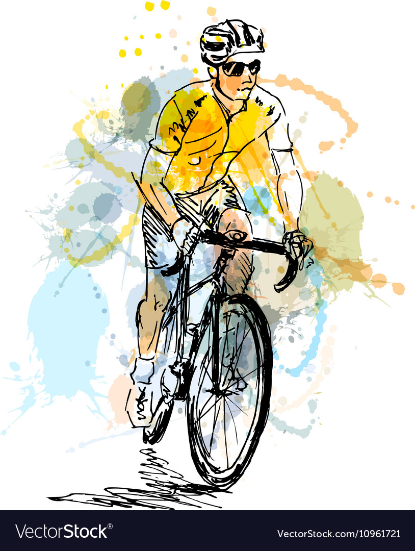Colored hand sketch cyclist