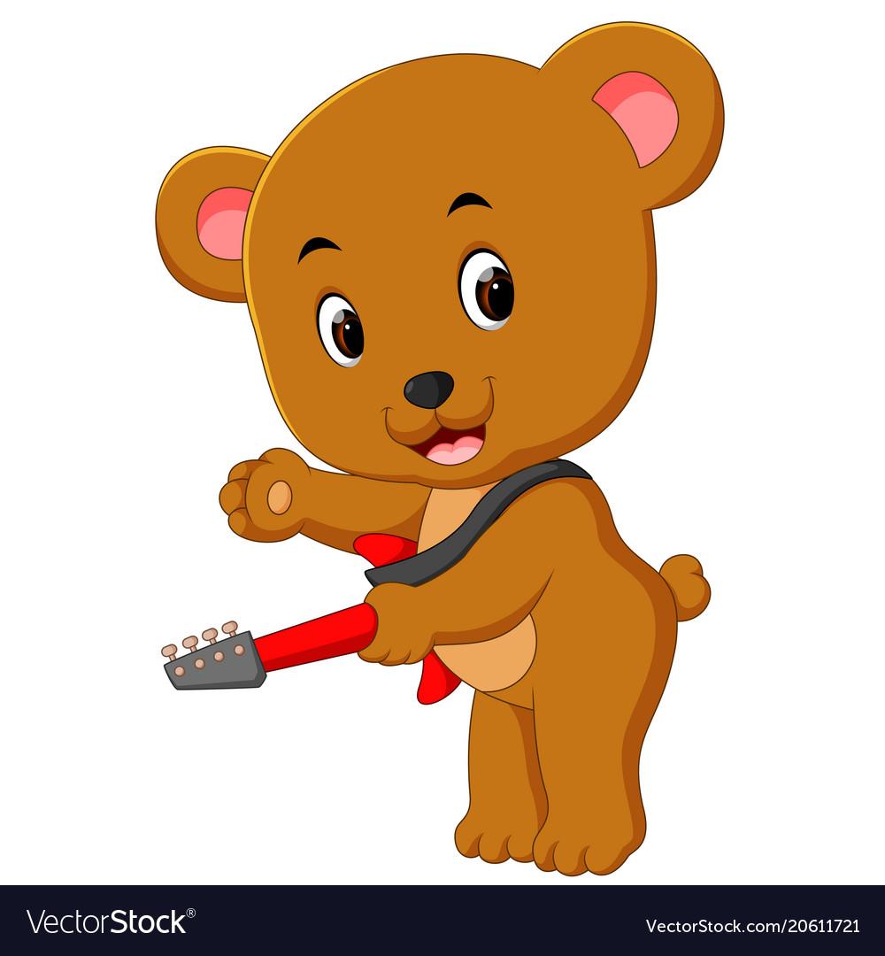 aba868517 Cute bear playing guitar Royalty Free Vector Image