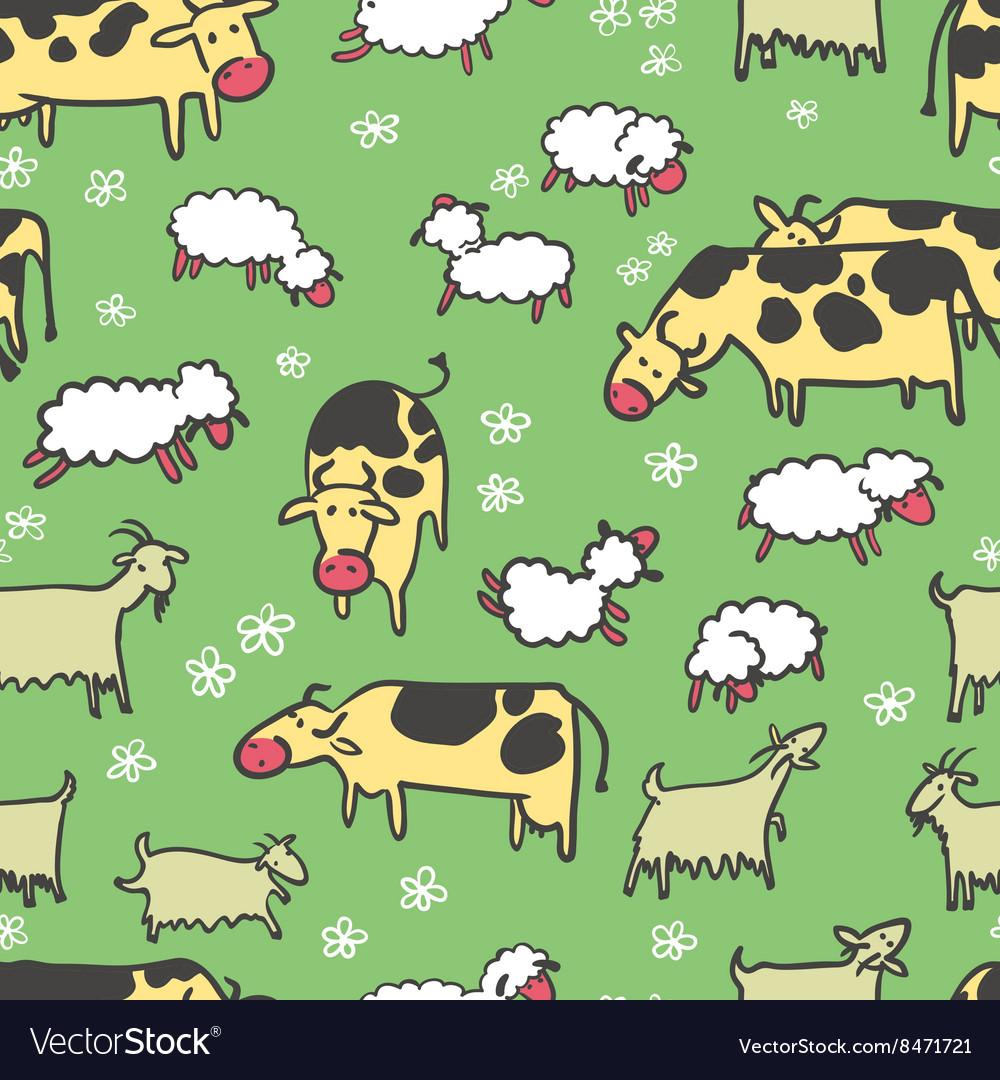 Farm livestock seamless pattern
