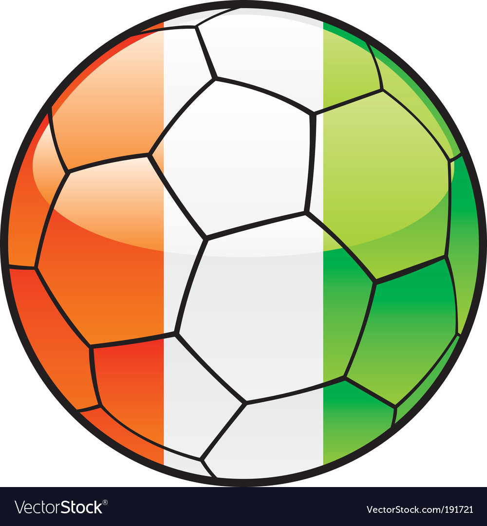 Flag of ivory coast on soccer ball vector image
