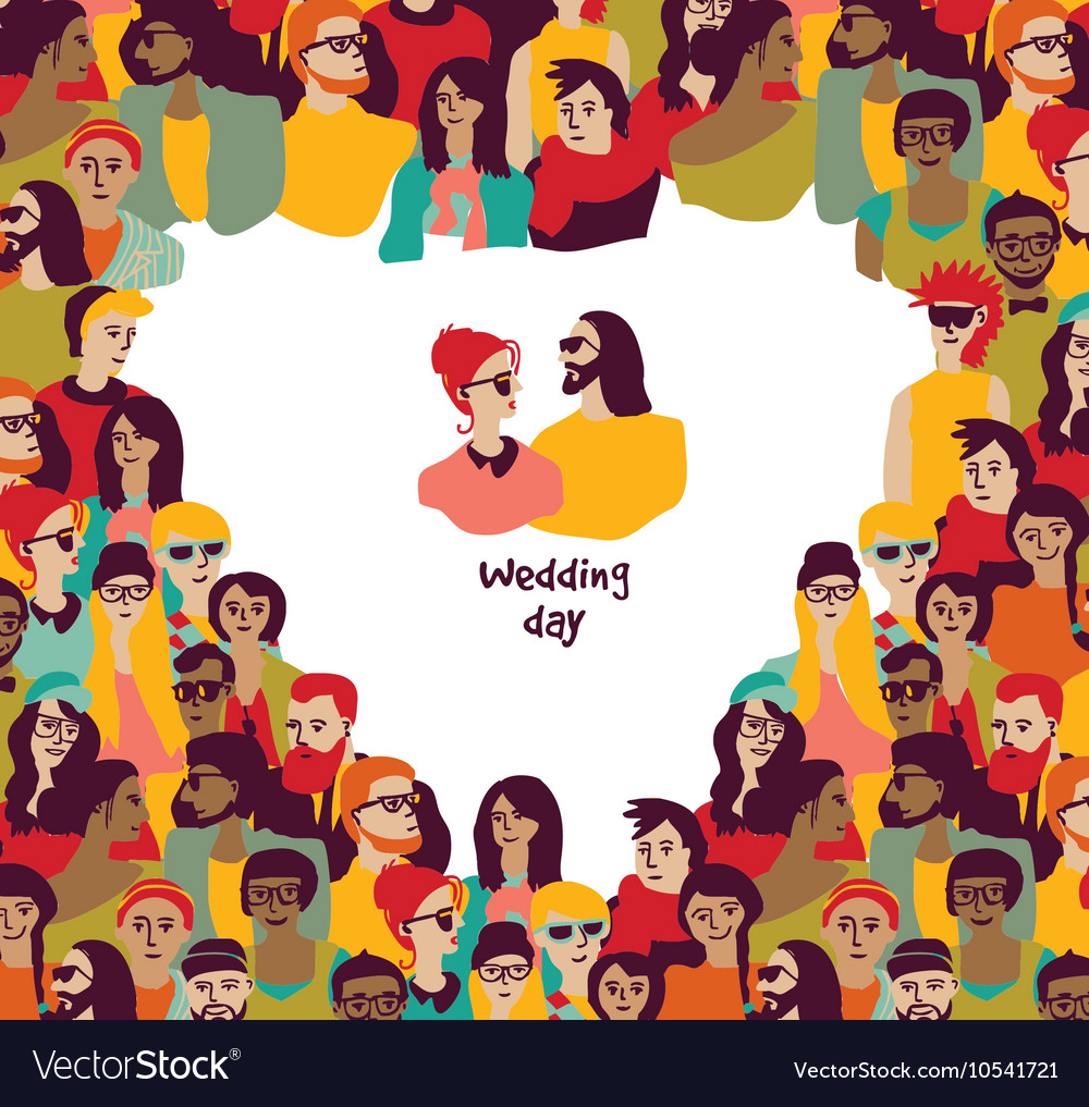 Happy wedding day card couple and border heart vector image
