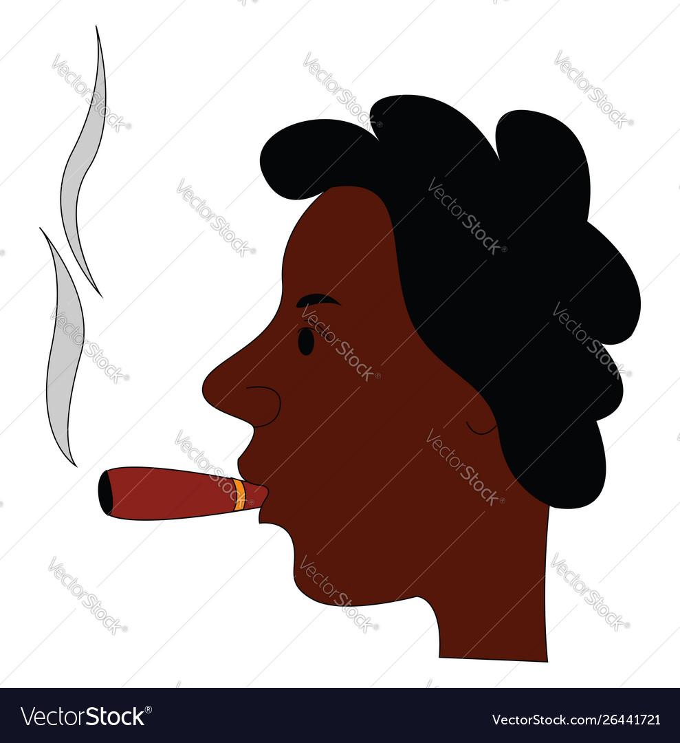 Man smoking cigar on white background