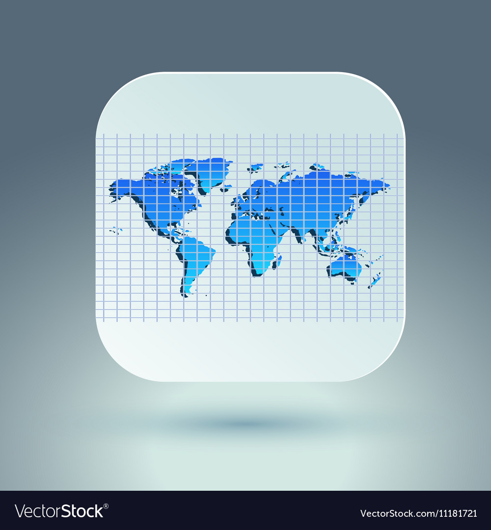 Map icon for application on grey background Grid
