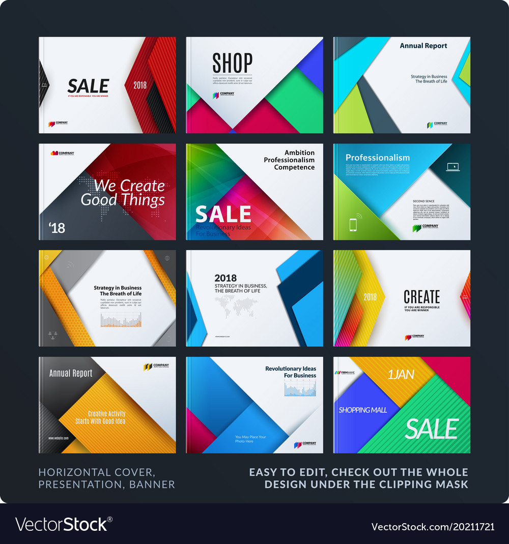 Material design of brochure set abstract annual vector image