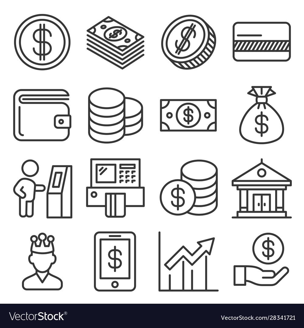 Money icons set on white background line style