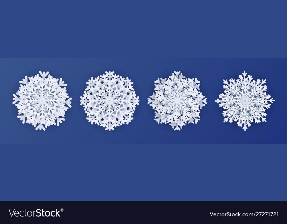 Paper cut snowflakes 3d white decoration elements