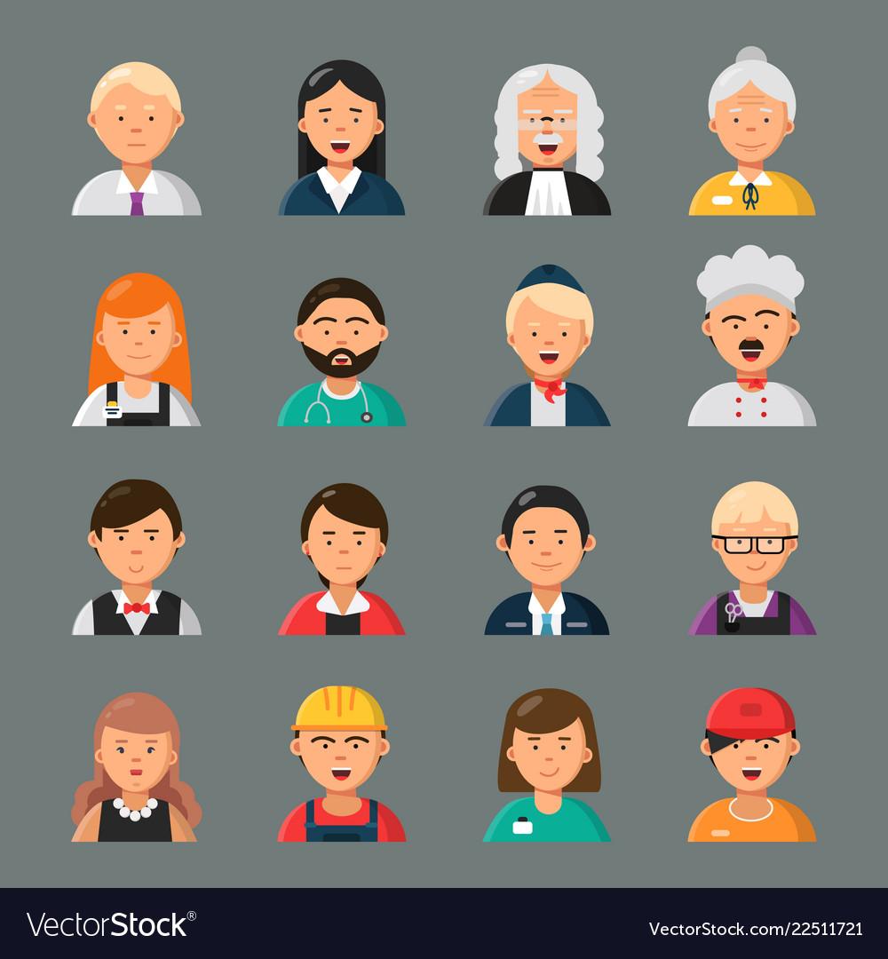 Professions avatars businessman doctor teacher