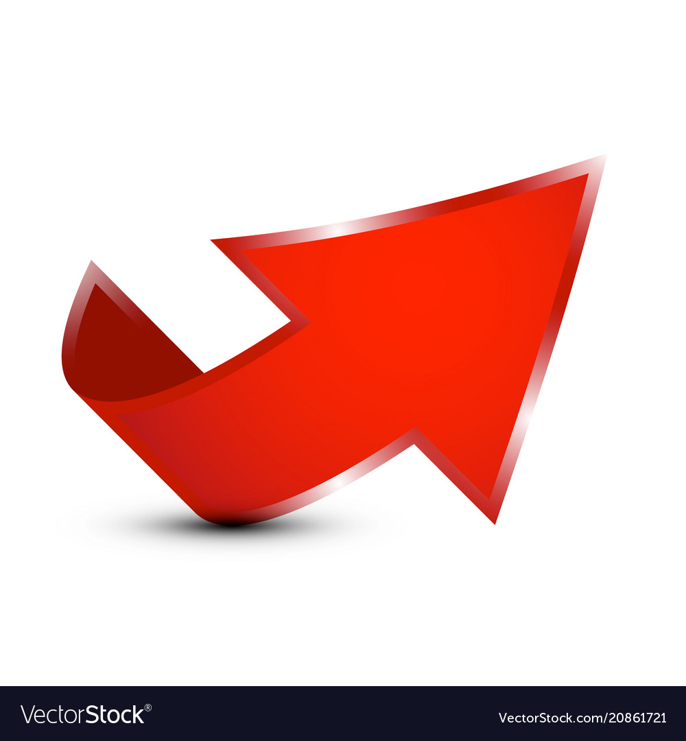 Red 3d up arrow icon isolated on white background