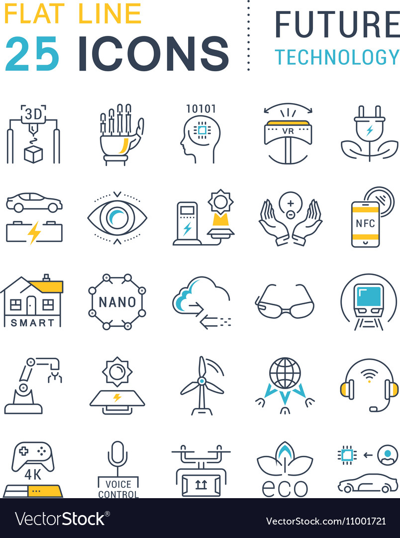 Set Flat Line Icons Future Technology