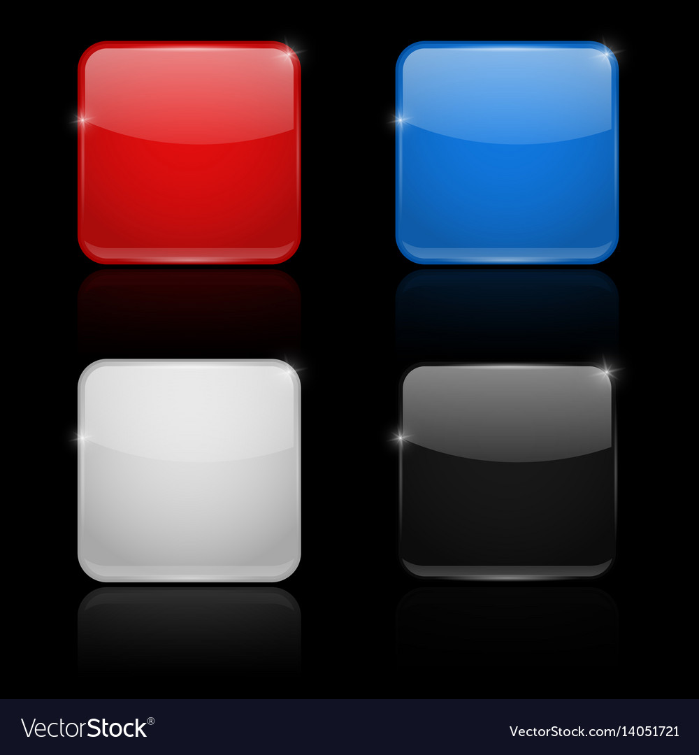Square glass buttons colored set 3d icons