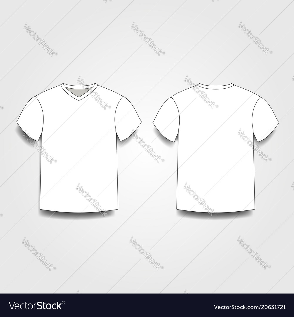 White Male T Shirt Template V Neck Front And Back Vector Image