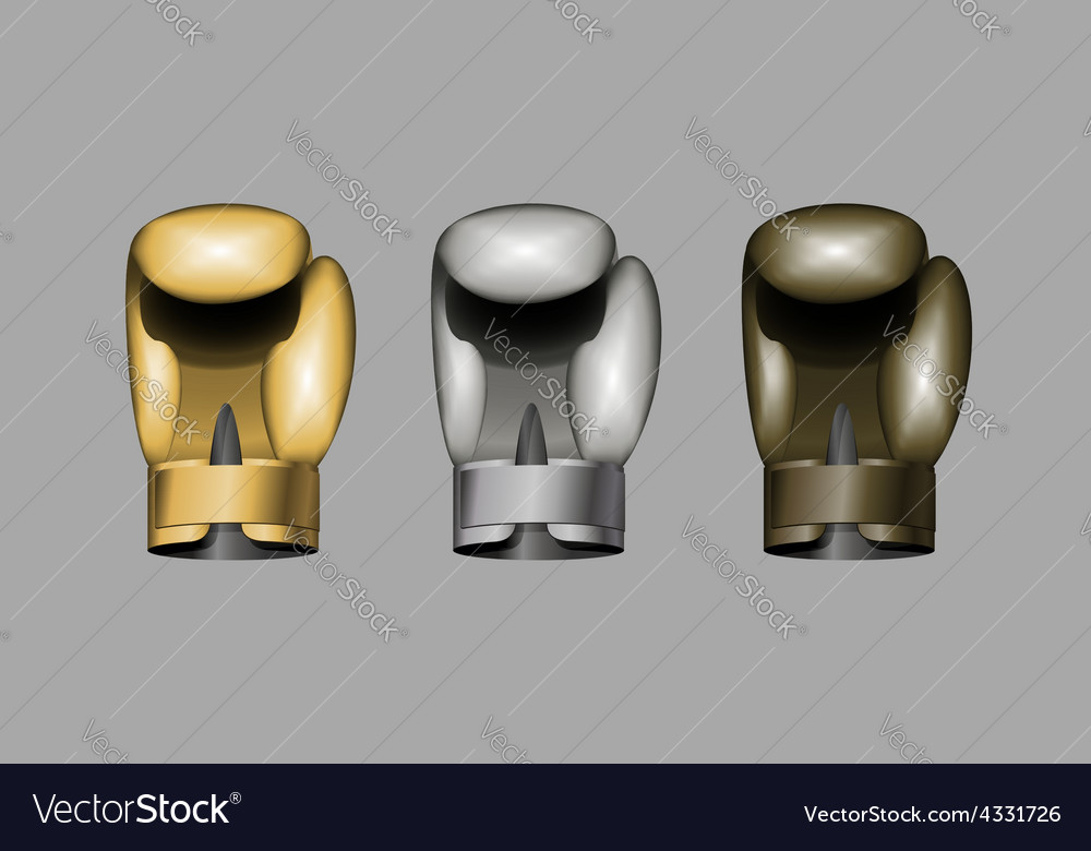 Boxing gloves Set boxing Gold bronze Silver cup