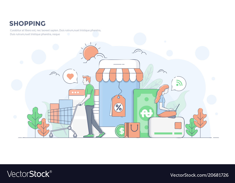 Flat line modern concept - shopping