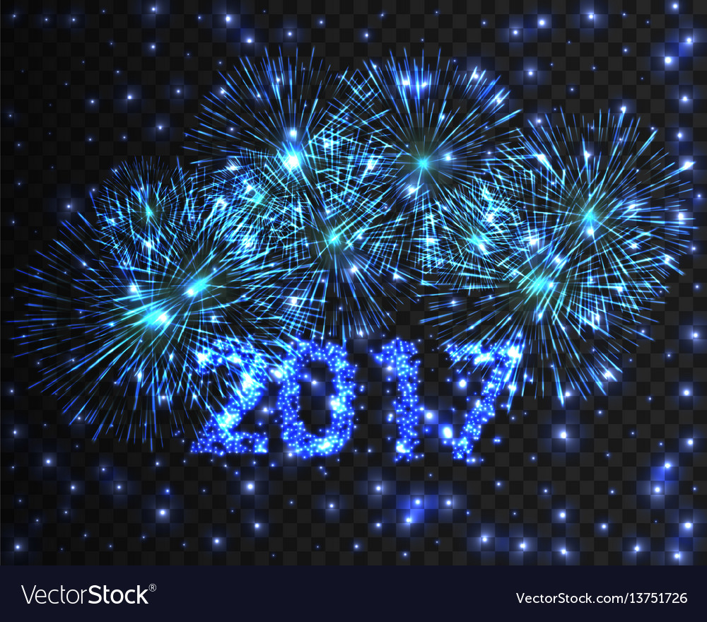 Happy new year 2017 firework background greeting