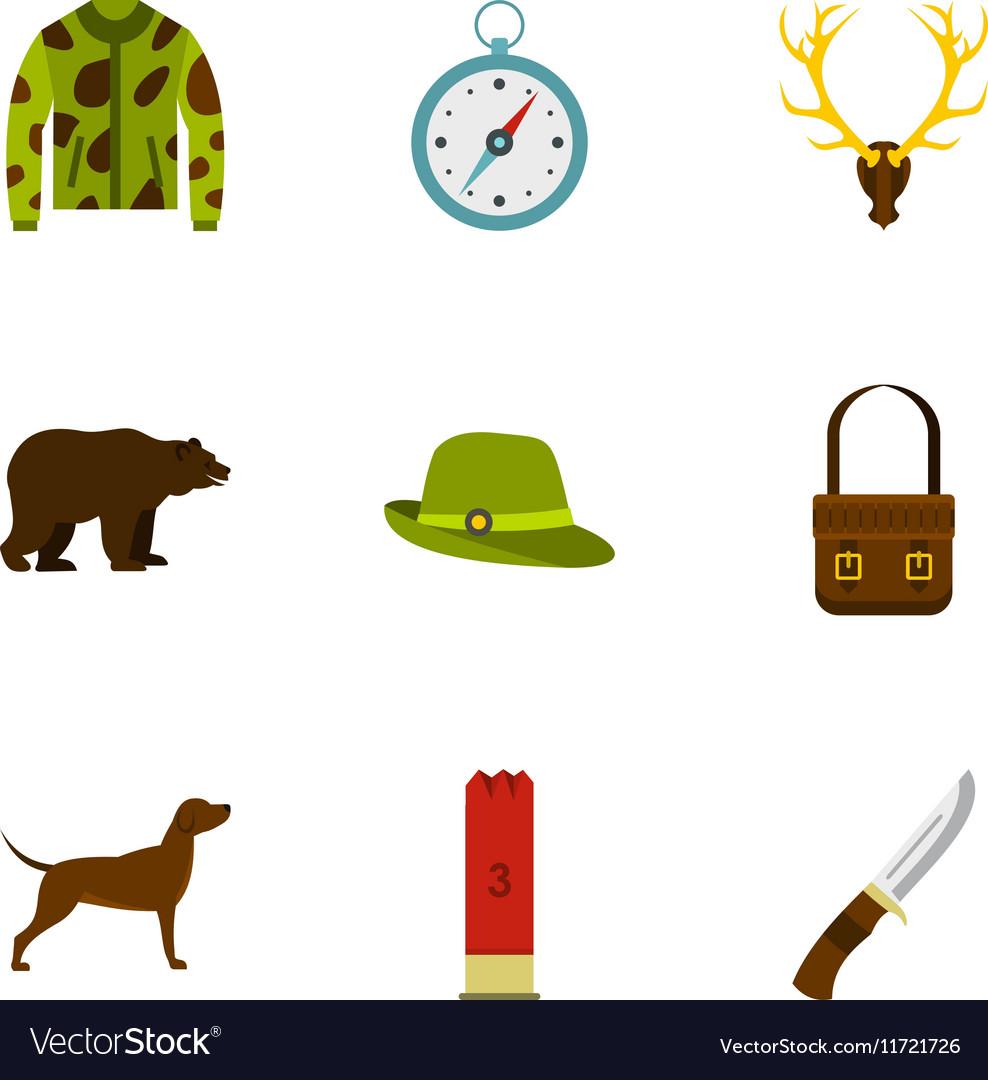 Hunting icons set flat style