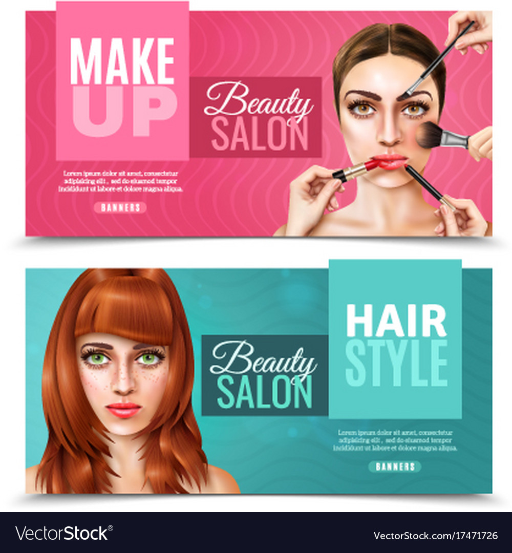 Model Face Salon Banners Royalty Free Vector Image