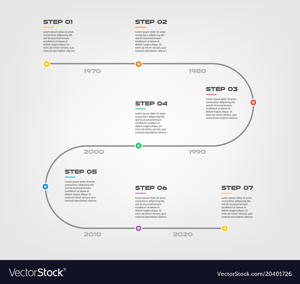 Snake timeline steps infographics - can
