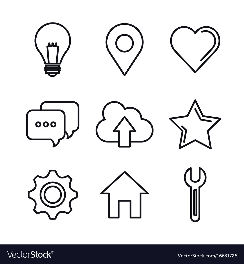Social media network communication outline icons
