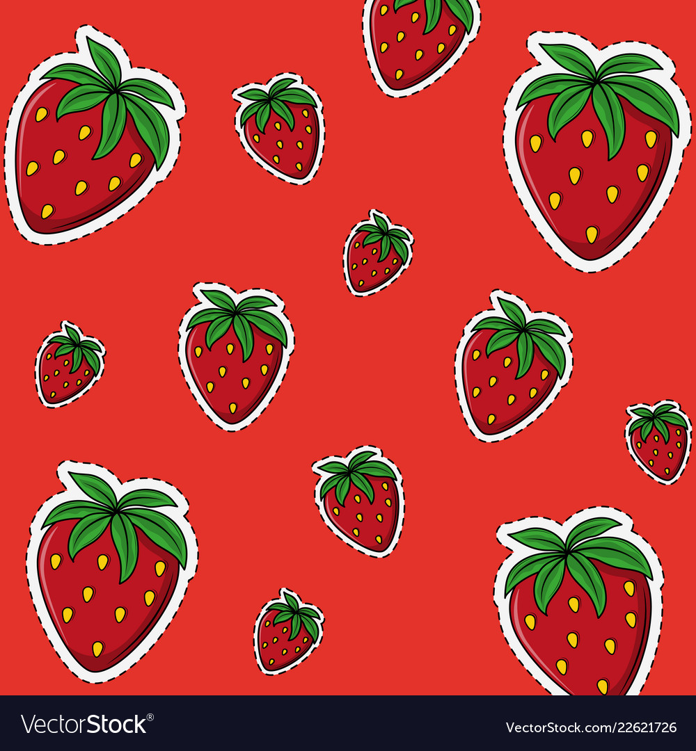 Strawberry Background Cartoons Royalty Free Vector Image