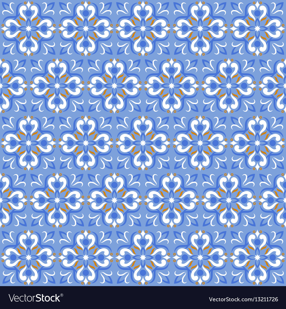 Tile print or ceramic texture seamless mosaic blue