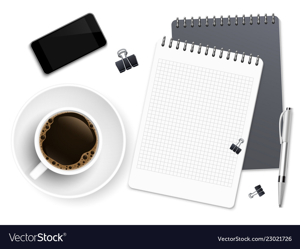 Top view business coffee break with notepad phone