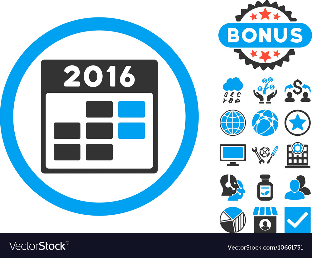 2016 Month Calendar Flat Icon with Bonus