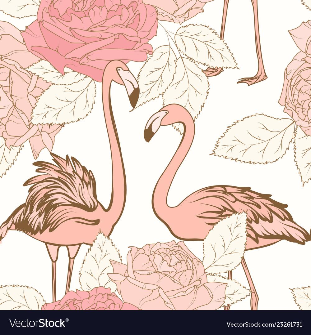 Beautiful pink rose flowers pink flamingo birds