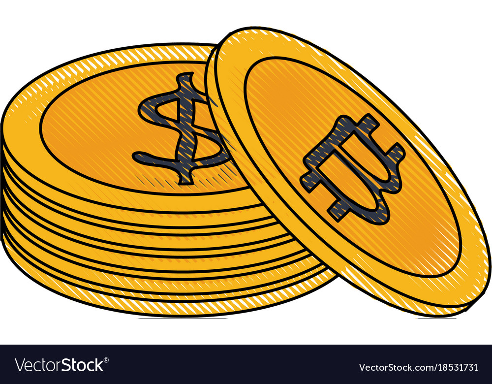 Bitcoin Virtual Money Exchange Vector Image