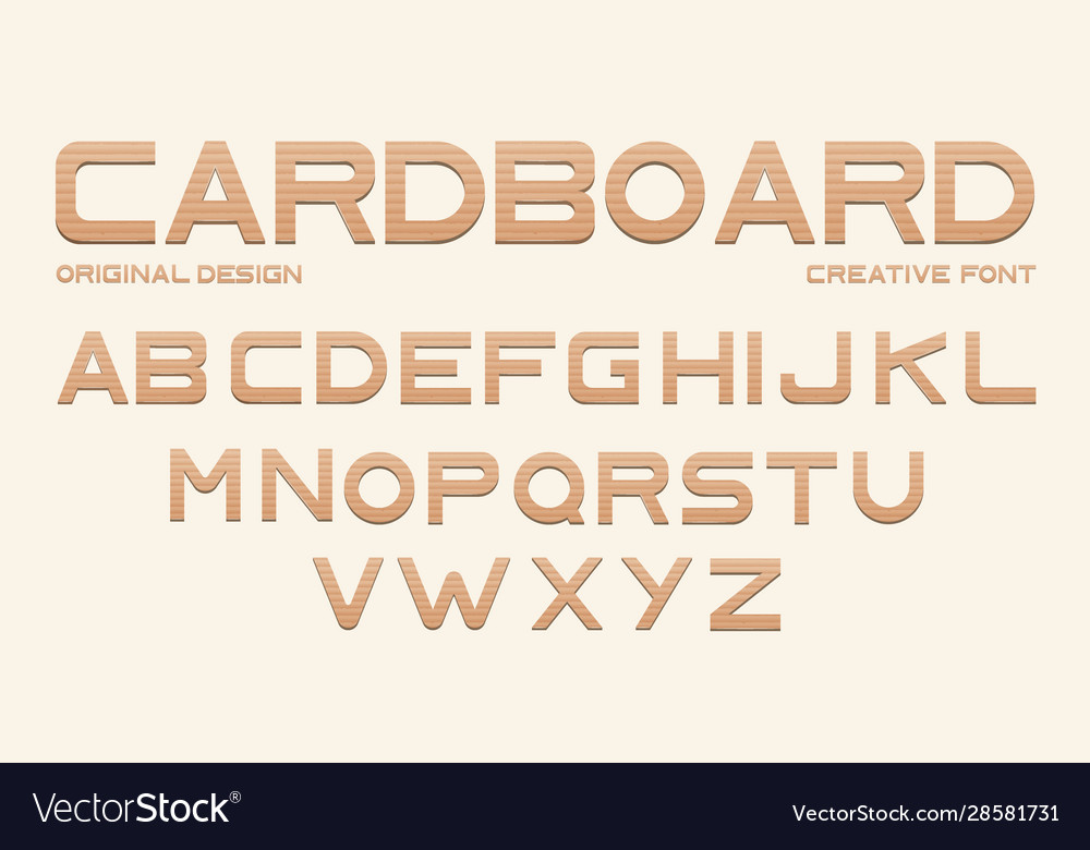 Cardboard font alphabet from brown craft paper