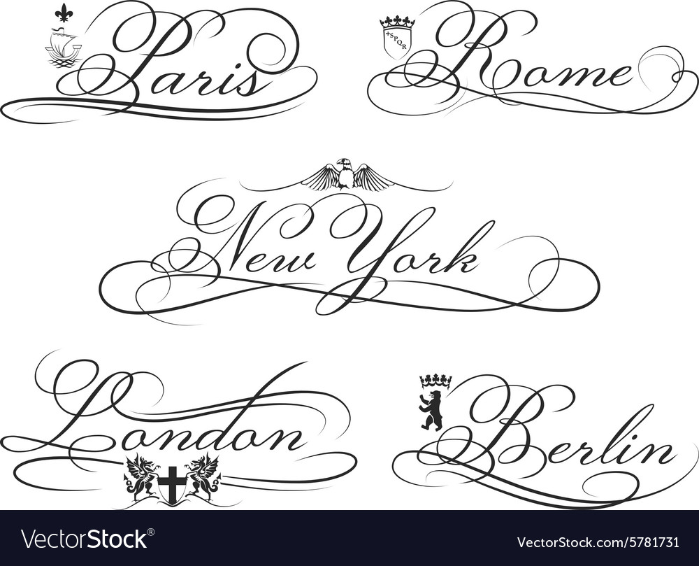 City emblems with calligraphic elements Cities