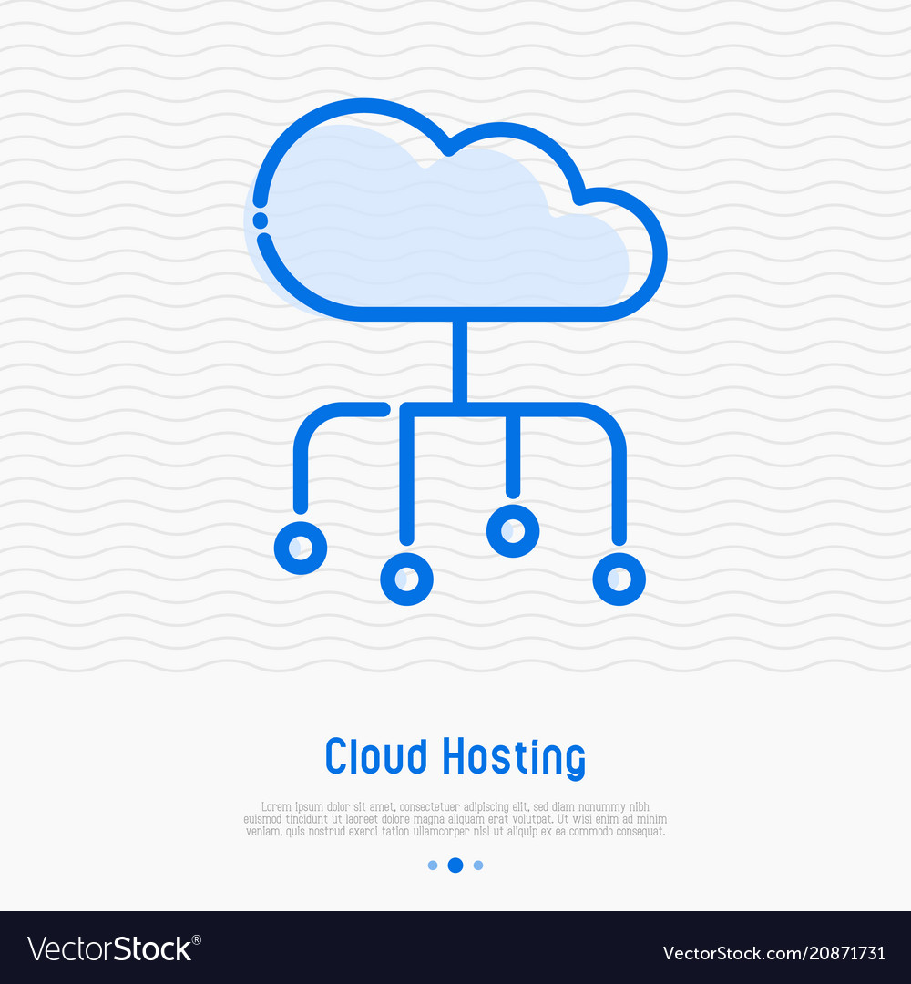 Cloud hosting thin line icon