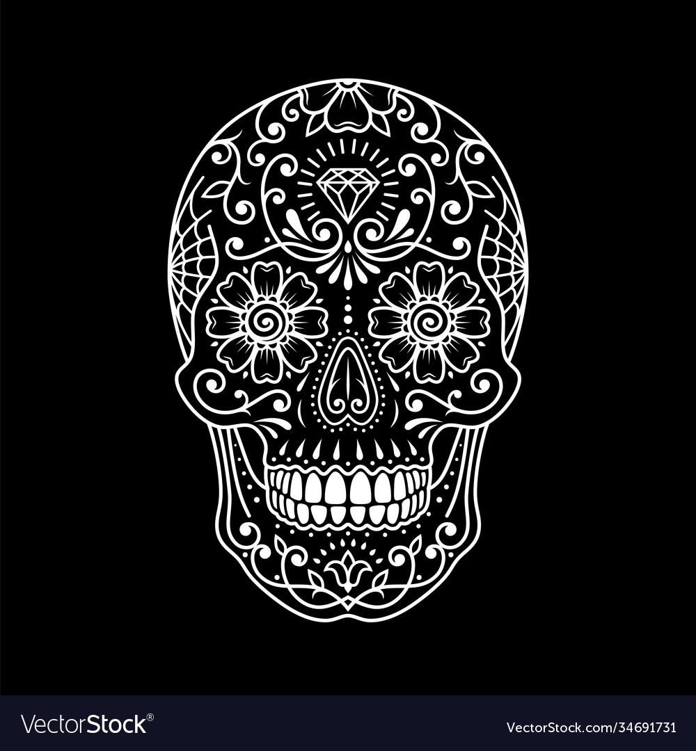 Decorative painted mexican sugar skull on black