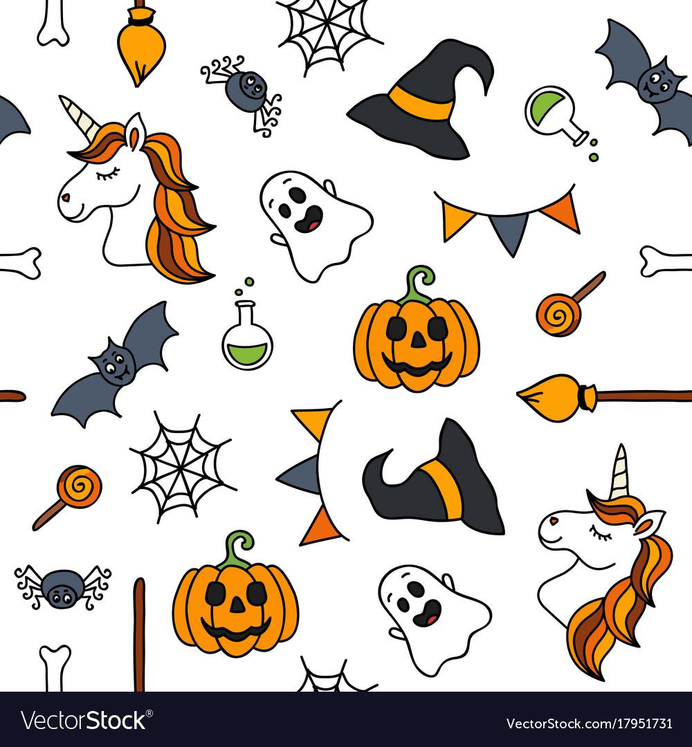 Halloween things unicorn cute doodle seamless