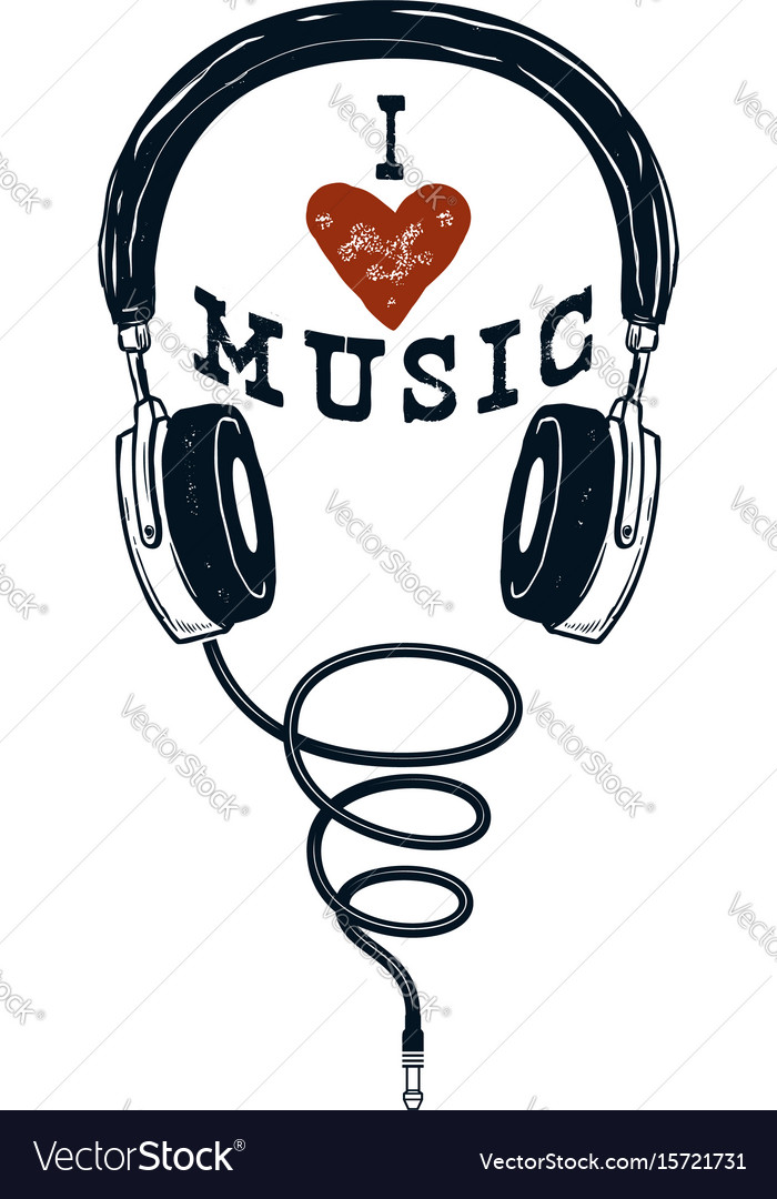 I love music hand drawn headphones design